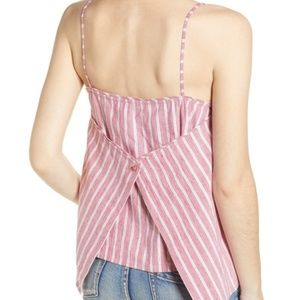 leith   button back camisole red stripe